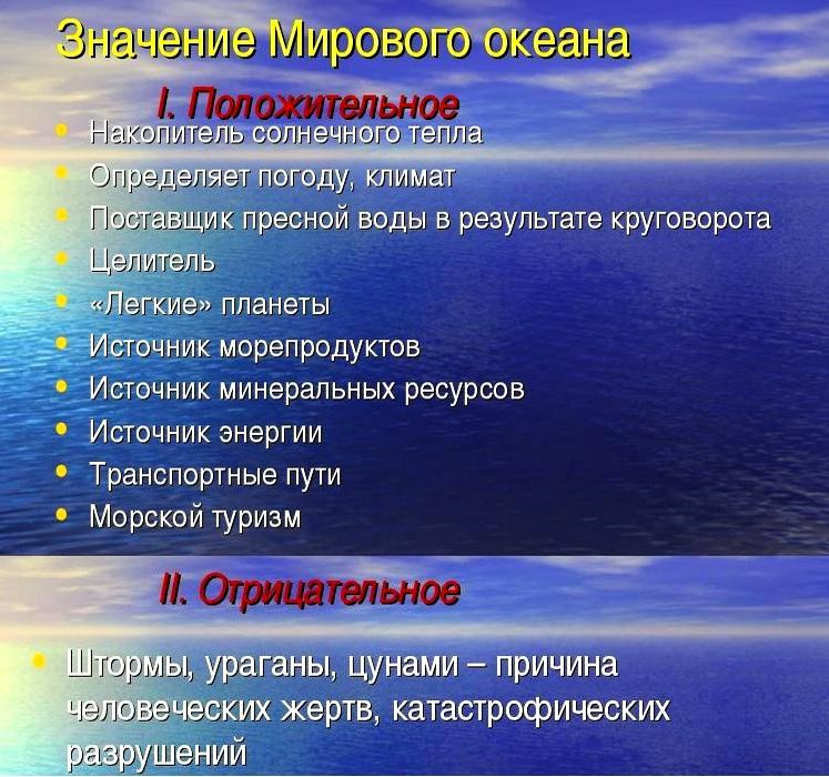 значение Мирового океана