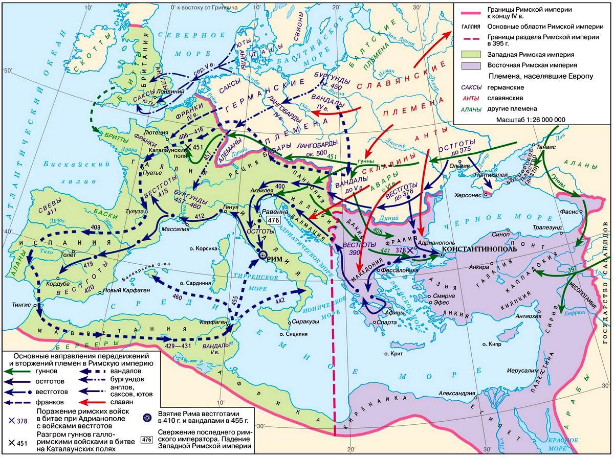 карта переселения народов