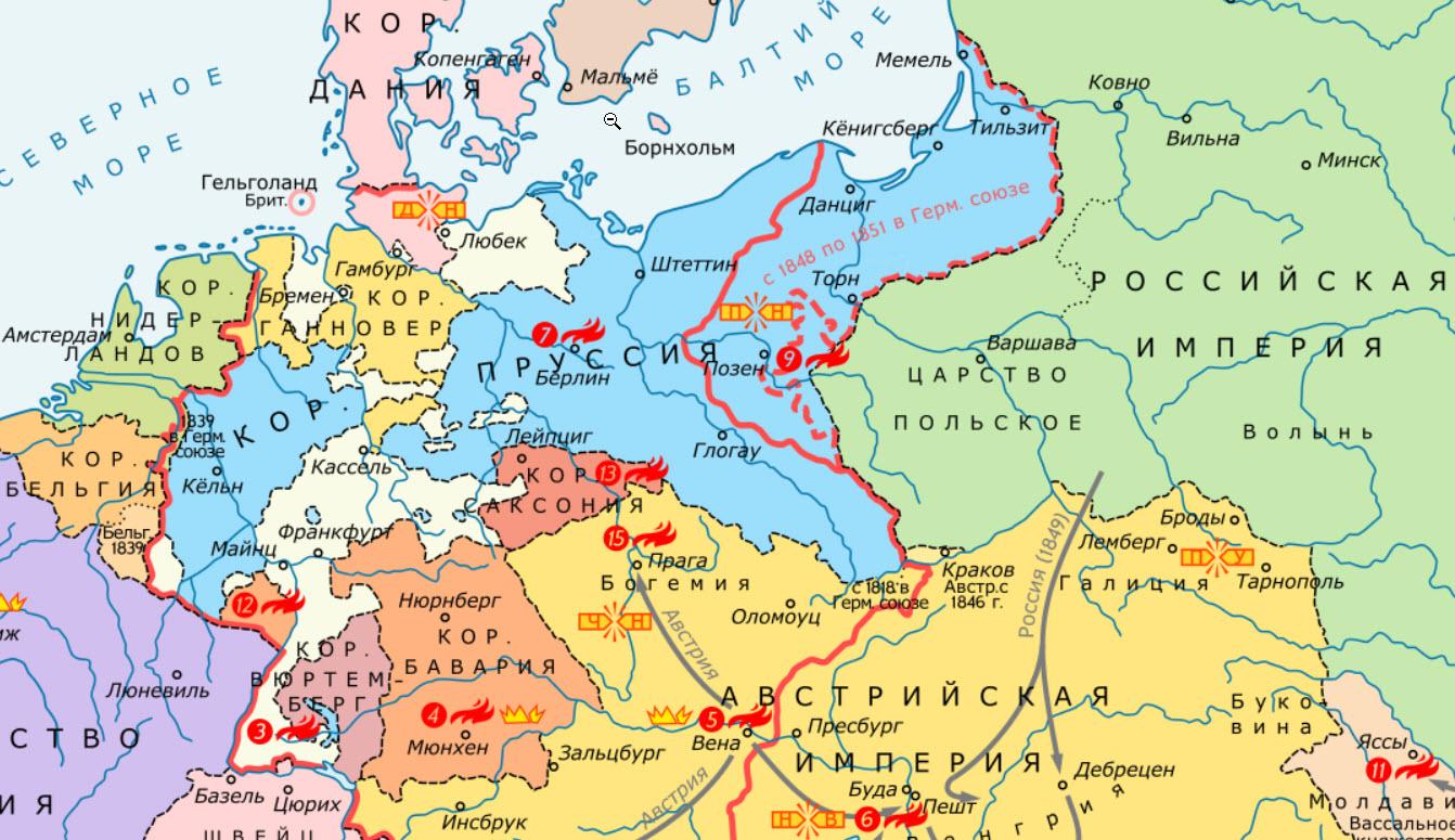 государств в Италии и Германии 1