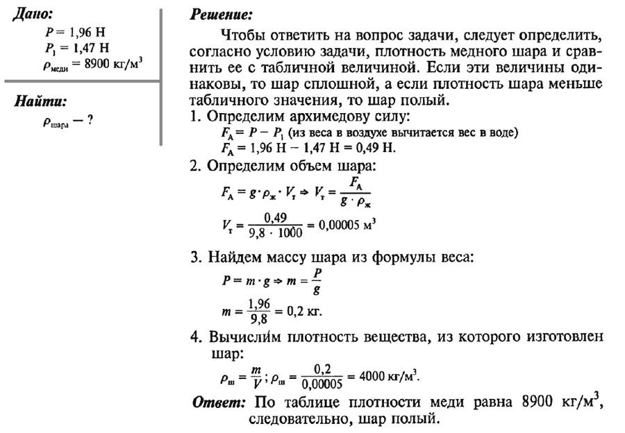 Решение задач по физике с архимедовой силой математика примеры решения комбинаторных задач