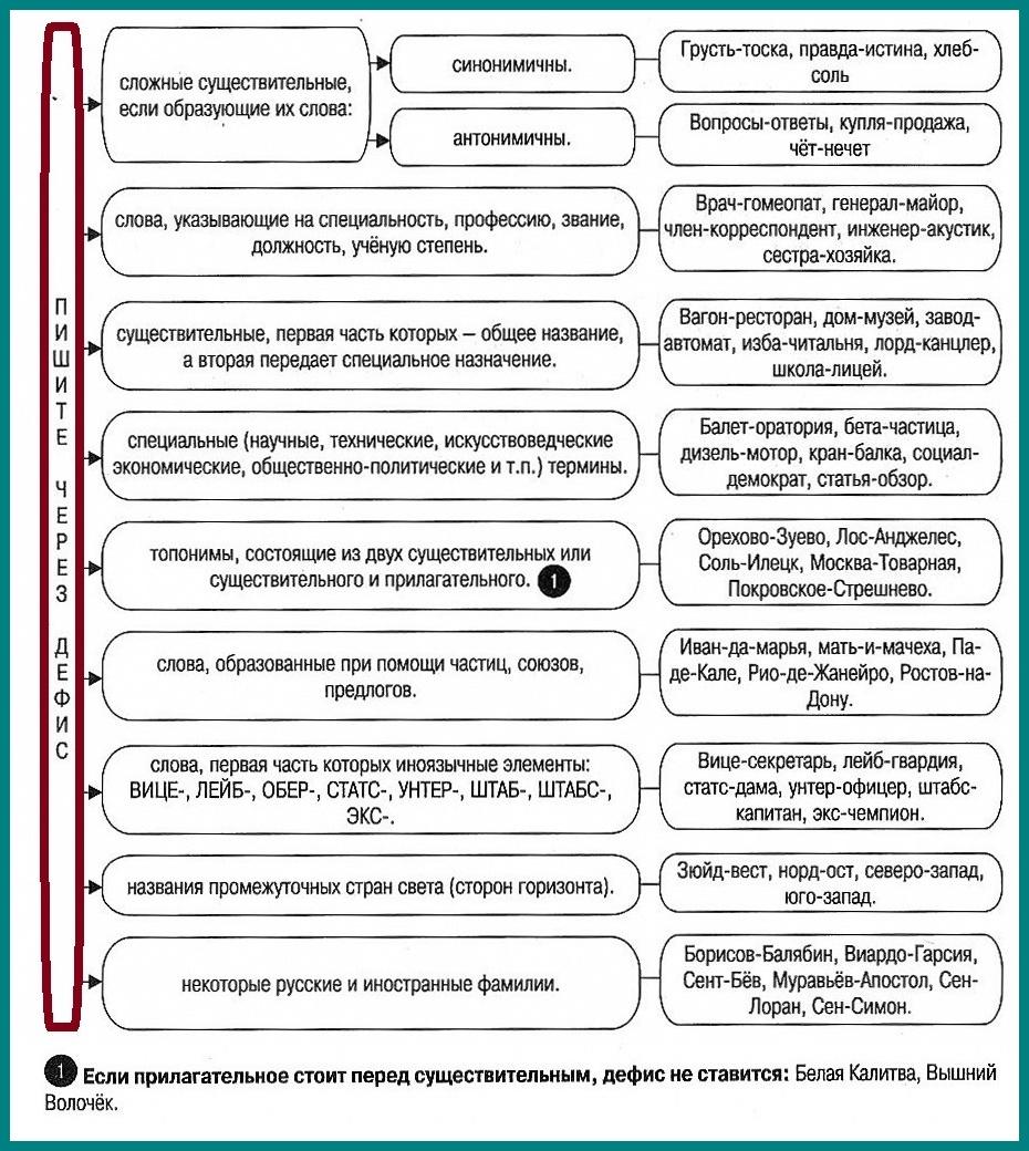 Правописание сложных существительных через дефис