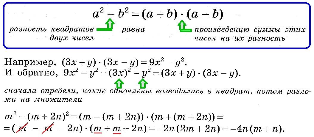 разность квадратов 2