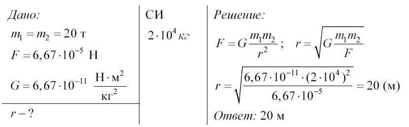 Всемирного тяготения закон решение задач интересные задачи с решением по физике