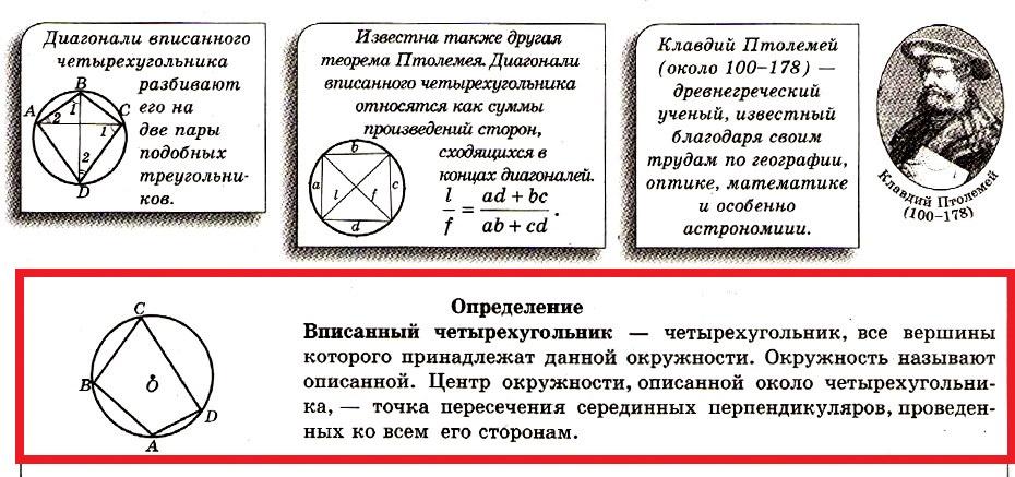 Описанная и вписанная окружности. Вписанный четырехугольник