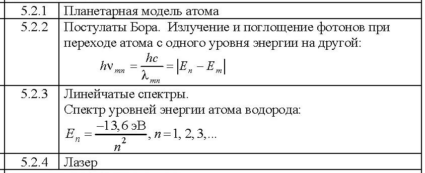 5.2 ФИЗИКА АТОМА