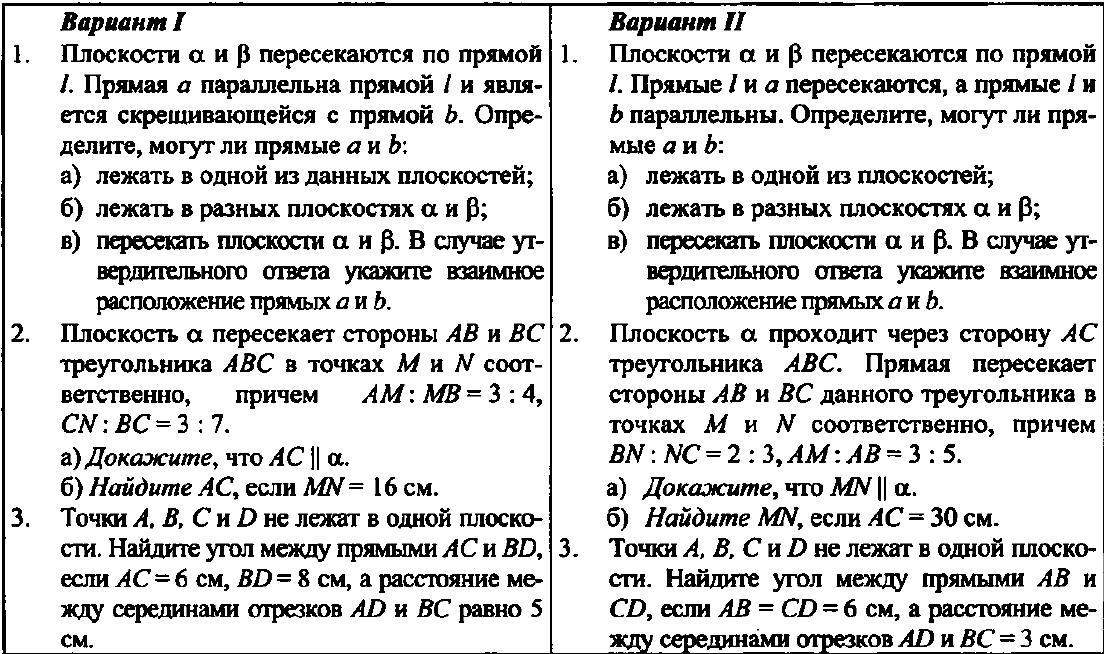 Геометрия 10 класс Контрольная № 1