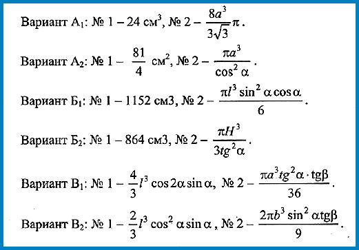 Геометрия 11 класс Контрольная № 4 ответы