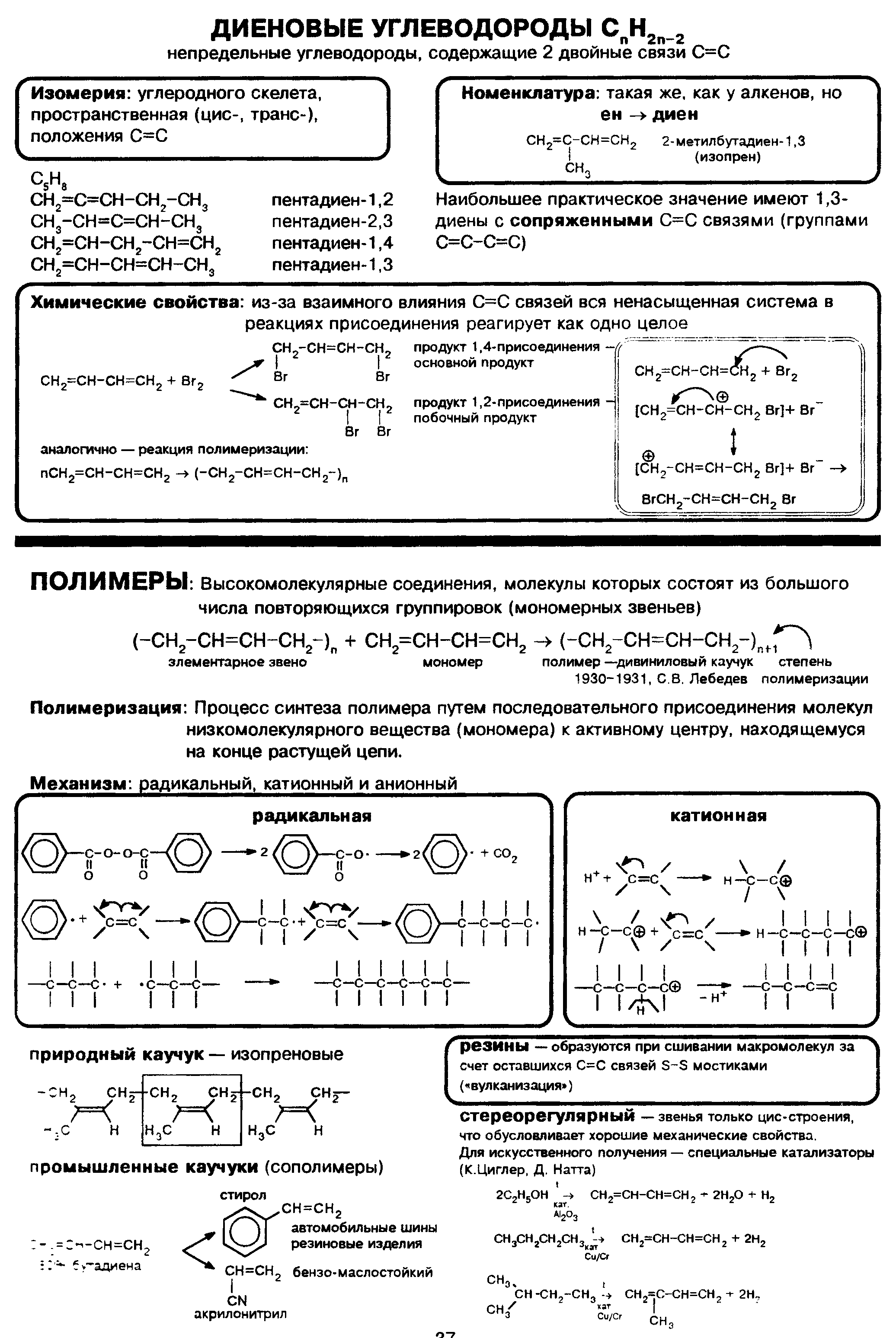 Диеновые углеводороды. Полимеры