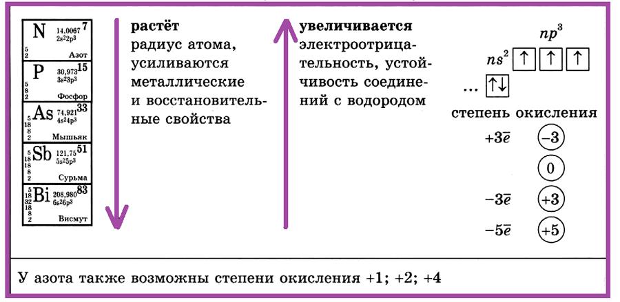 Элементы V группы главной подгруппы