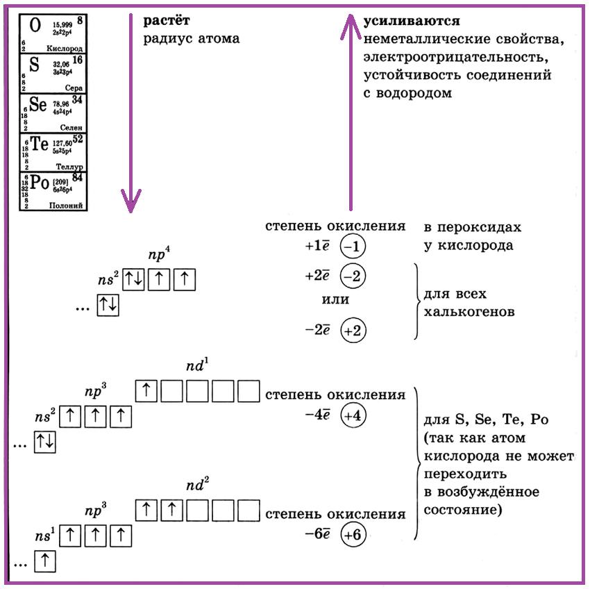 Элементы VI группы главной подгруппы (халькогены)